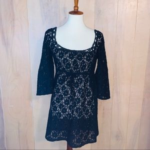 Laundry Black Crocheted Cover Up. Size Small